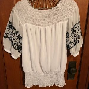 Alfani white blouse with sheer embroidered sleeves